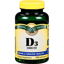 Spring Valley D-3 High-Potency Vitamin Dietary Supplement 1000 IU/450 ct