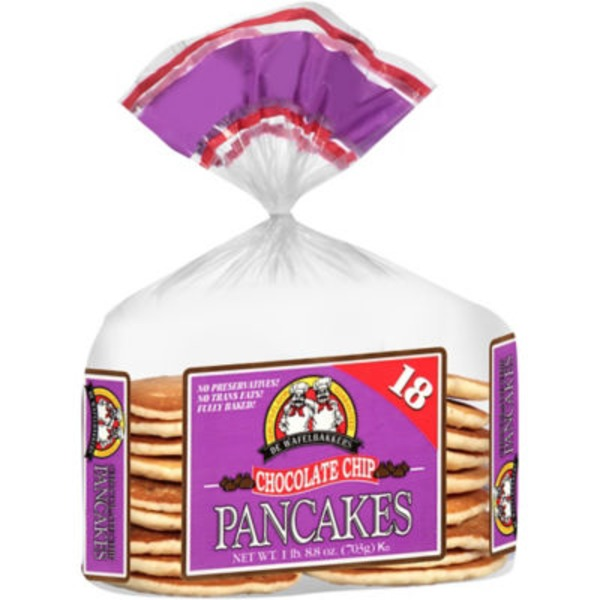 De Wafelbakkers Chocolate Chip Pancakes - 18 CT