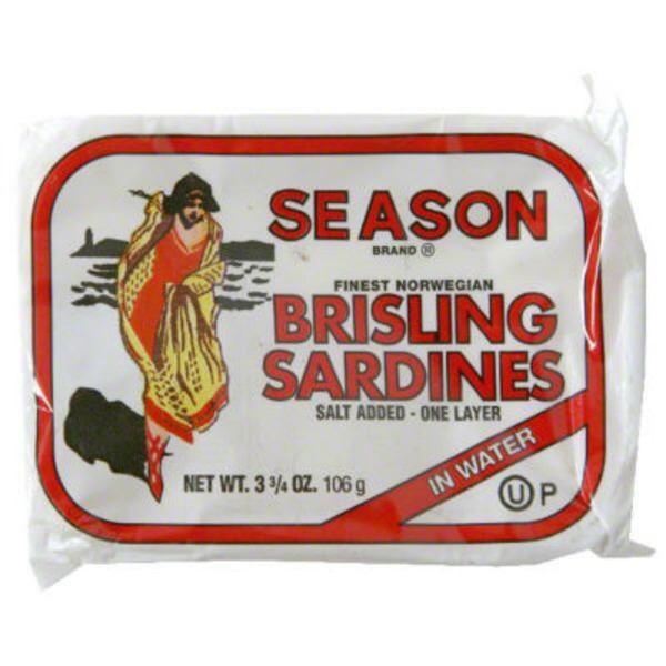 Season Brand Sardines Lightly Smoked Brisling In Water
