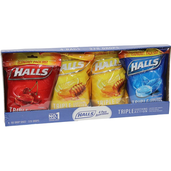 Halls Cough Suppressant/Oral Anesthetic, Menthol, 4 Pack Assortment