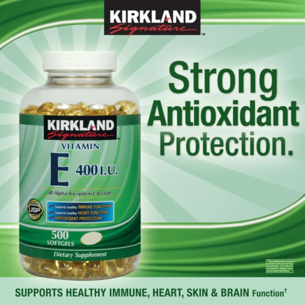 Kirkland Signature Vitamin E 400 Iu, 500 Count