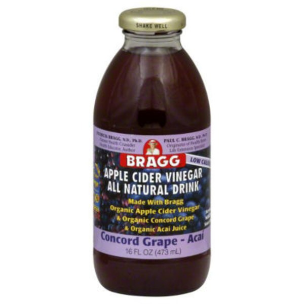 Bragg Organic Apple Cider Vinegar All Natural Drink Concord Grape Acai