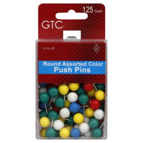 GTC Round Assorted Color Push Pins