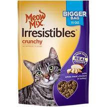 Meow Mix Irresistibles Cat Treats Crunchy with White Meat Chicken and Turkey