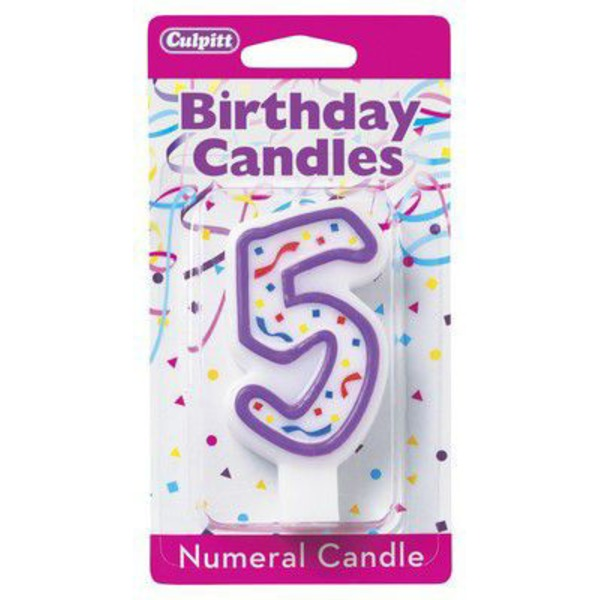 Culpitt Candle Numeral 5 Purple
