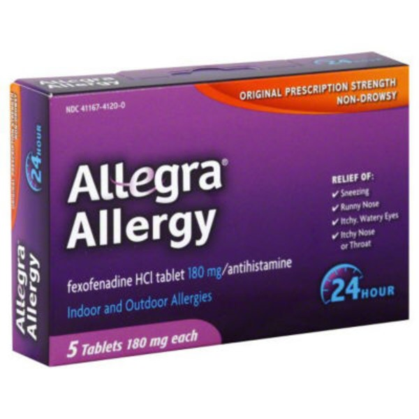 Allegra Allergy 24 Hour Non Drowsy Indoor and Outdoor Allergy Tablets Original Prescription Strength - 5 CT