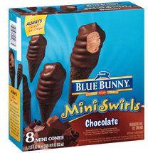 Blue Bunny Mini Swirls Chocolate Ice Cream Mini Cones