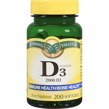 Spring Valley Vitamin D3 Softgels 2000 IU