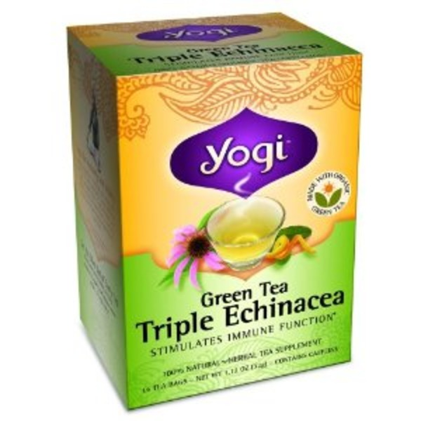 Yogi Green Tea Triple Echinacea Tea Bags - 16 CT