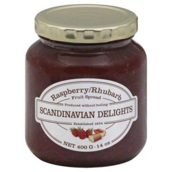 Scandinavian Delights Fruit Spread, Raspberry/Rhubarb