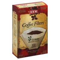 H-E-B No. 4 Natural Brown Cone Coffee Filters