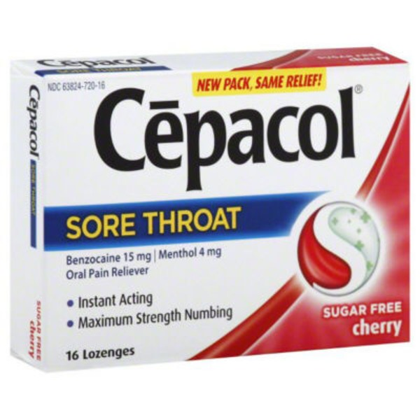 Cepacol Lozenges Sore Throat Sugar Free Cherry Oral Pain Reliever