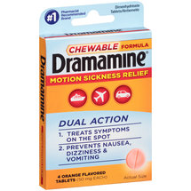 Dramamine Motion Sickness Relief Dual Action Orange Flavored Tablets
