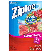 Ziploc Double Zipper Quart Storage Bags