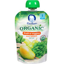 Gerber 2nd Foods Organic Fruit & Veggies Pear Spinach Baby Food