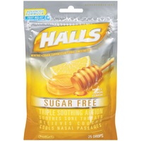 Halls Sugar Free Honey Lemon Menthol Drops Cough Suppressant/Oral Anesthetic