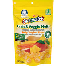 Gerber Graduates Fruit and Veggie Melts Freeze-Dried Fruit and Vegetable Snacks Truly Tropical Blend Naturally Flavored with Other Natural Flavors