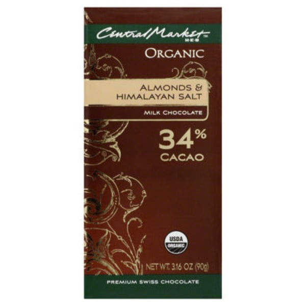 Central Market Organic Almonds And Himalayan Salt 34% Cacao Milk Chocolate Bar