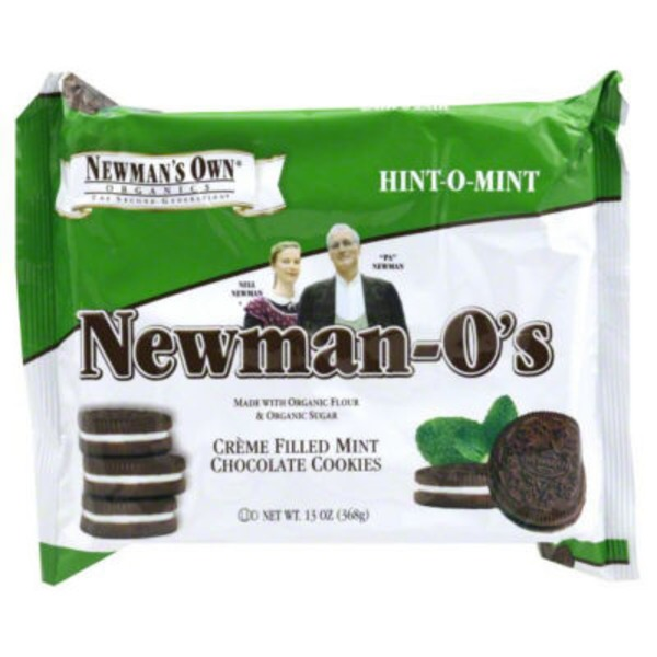 Newman's Own Newman-O's Hint-O-Mint Creme Filled Mint Chocolate Cookies
