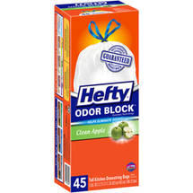 Hefty Odor Block Clean Apple Tall Kitchen Drawstring Bags