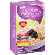 Great Value Instant Oatmeal Fruit & Cream Variety Pack 10 Ct/12.3 Oz