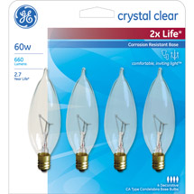 GE crystal clear 60 watt bent tip