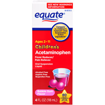 Equate Acetaminophen Low Dose Bubblegum Suspension