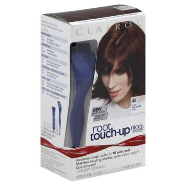 Clairol Root Touch-up Clairol Nice 'n Easy Root Touch-Up, 4R Dark Auburn / Reddish Brown, Permanent Hair Color, 1 Kit Female Hair Color