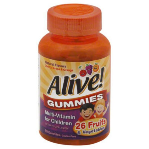 Alive! Gummies Multi-Vitamin for Children B-Vitamins Cherry, Orange & Grape - 60 CT