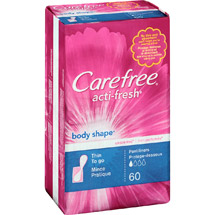 Carefree Acti-Fresh Unscented Thin To Go Body Shape Pantiliners