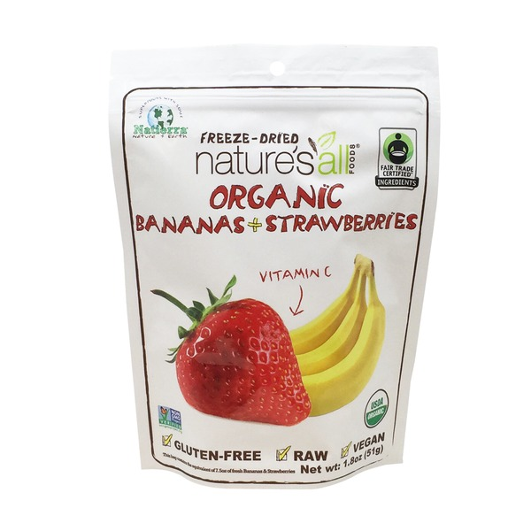 Nature's All Foods Organic Freeze Dried Bananas and Strawberries