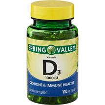 Spring Valley Vitamin D3 Supplement Softgels 1000 IU