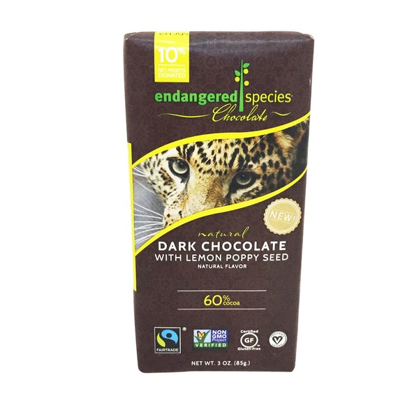 Endangered Species Dark Chocolate with Lemon Poppy Seed