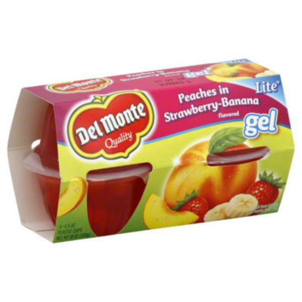 Del Monte Lite Diced Yellow Cling Peaches in Strawberry-Banana Gel Fruit Cups