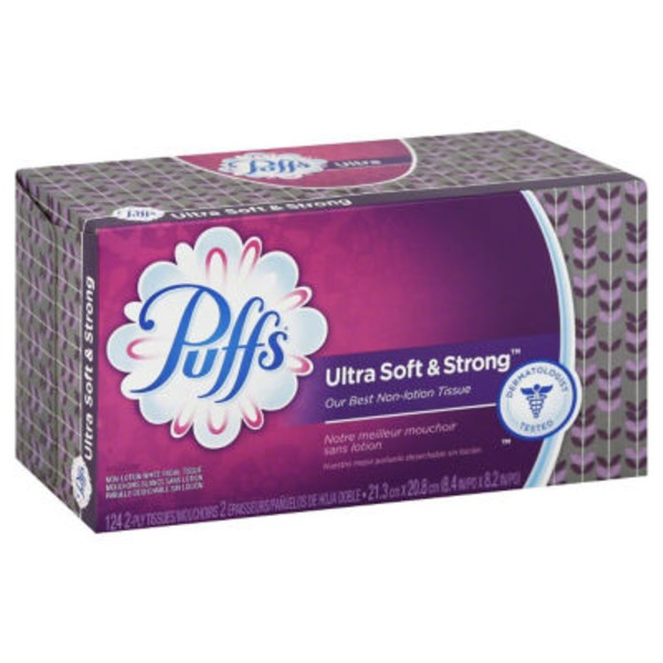 Puffs Ultra Soft & Strong Puffs Ultra Soft & Strong Facial Tissues, 8 Family Boxes, 124 Tissues per Box Personal Tissue