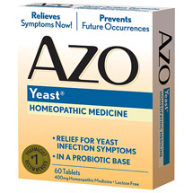 AZO Yeast Plus Multi-Benefit Formula Symptom Relief Homeopathic Medicine Tablets