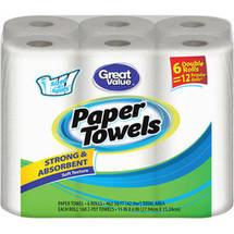 Great Value Double Rolls Sized-4-Spills White 2-Ply Paper Towels (Pack of 6)