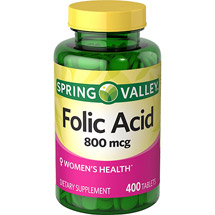 Spring Valley Folic Acid Dietary Supplement Tablets