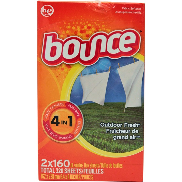 Bounce Fabric Softener Dryer Sheet Outdoor Fresh 160CT Fabric Enhancers