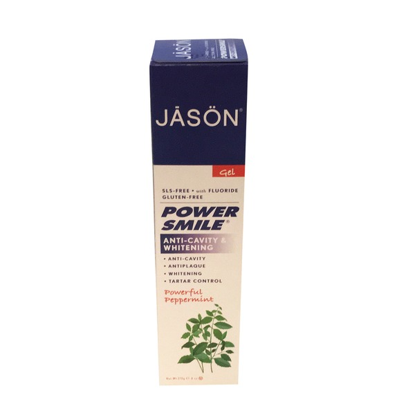 Jason Toothpaste with Fluoride Anti-Cavity & Whitening Powerful Peppermint Gel