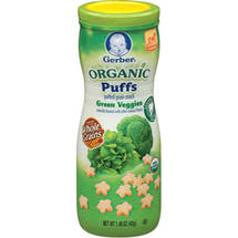 Gerber Organic Puffs Green Veggies Puffed Grain Snack