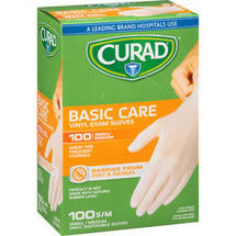 Curad Basic Care Vinyl Exam Gloves Small/Medium