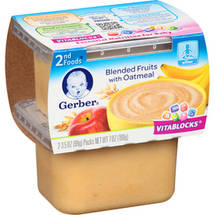 Gerber 2nd Foods Oatmeal Cereal w/Blended Fruits 7 Oz (2-3.5 Oz) Cereal