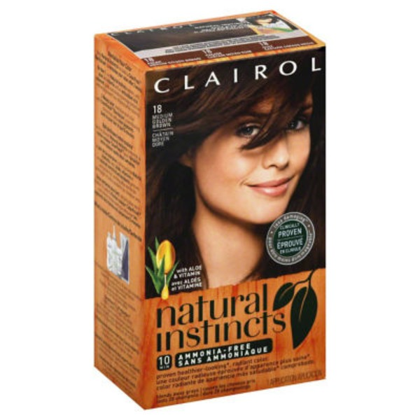 Clairol Natural Instincts, 5G / 18 Pecan Medium Golden Brown, Semi-Permanent Hair Color, 1 Kit Female Hair Color