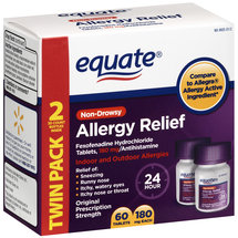 Equate Fexofenadine HCL Allergy Relief Twin Pack 180mg