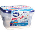 Great Value Smart Match Deep Dish Containers
