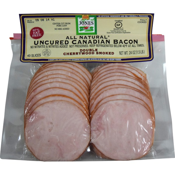 Jones All Natural  Uncured Canadian Bacon Double Cherrywood Smoked