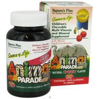 Nature's Plus Plus Animal Parade Children's Chewable Multi Vitamin And Mineral Supplement Natural Cherry