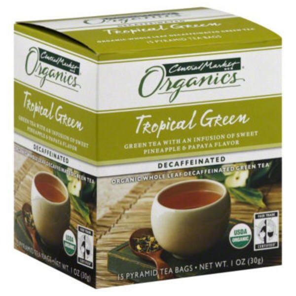 Central Market Tropical Green Tea Sweet Pineapple & Papaya Decaffeinated Organic Whole Leaf Tea Bags