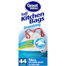 Great Value Fresh Scent Odor Control Drawstring Tall Kitchen Bags